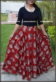 Kalamkari Designs, Salwar Designs, Lehenga Designs, Skirt Outfits, Dress Skirt, Gown Dress, Kalamkari Skirts, Dress Neck Designs, Blouse Designs