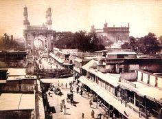 Principal Street, circa. 1890. Charminar and Mecca Masjid are visible at the back.
