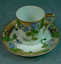 Antique Japanese Nippon Porcelain Demitasse Cup Saucer – Cherry Blossom Mark