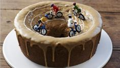 Velodrome cake... Take gold in cake-baking with this stunning re-creation of the velodrome in cake - cycling fans will be delighted... Vegetarian...Less than 30 mins preparation time... 30 mins to 1 hour cooking time... Serves 12-15...