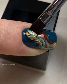 Nail Art Designs Videos, Nail Art Videos, Acrylic Nail Art, Gel Nail Art, Marble Nails Tutorial, Swirl Nail Art, Nail Art Printer, Fingernails Painted, Asian Nails