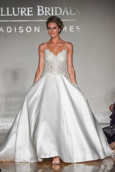 allure bridal maddison james f2017 spagetti strap sweetheart neckline heavily embellished bodice bustier satin skirt princess glamorous a  line wedding dress chapel train (017) mv