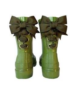 Timber & Tamber Rain Boots Rubber Gumboots Green. $87.00, http://www.the-secret-door-co.com/ French Bow Boot - Gumboot - Rain Boot - Green - Olive - Childs - Kids - Shoes - Flowergirl - Wedding