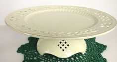 Formalites Holly Creamware Collection Pedestal by SucresDaintyDish, $30.00
