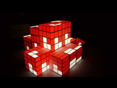 Projecting onto several Cubes mad out of Cardboard or Wood. Using two 3000 ANSI Projectors connected to a MacPro with a Matrox Mapping and Live-. 3d Projection Mapping, 3d Video, Dream Machine, Light Installation, Glass Panels, Quartz, Cubes, Frame, Rabbit Hole