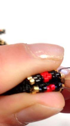 Peyote stitch bracelet pattern, seed beads pattern, peyote earrings - How to finish up peyote stitch bracelet-wrap bracelet with adjustable length (part - Peyote Beading Patterns, Peyote Stitch Patterns, Beaded Earrings Patterns, Bead Loom Patterns, Seed Bead Bracelets Diy, Seed Bead Jewelry, Beaded Bracelets, Seed Beads, Bead Embroidery Jewelry