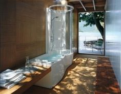 jacuzzi tub shower combo bathtub shower combo design ideas gorgeous natural bathroom design with long whirpool jacuzzi with shower Modern Interior Decor, Bathtub Shower Combo, Natural Bathroom, Shower Tub, Jacuzzi Bathtub, Contemporary House, Contemporary Home Decor, Modern Interior Design Trends, Bathtub