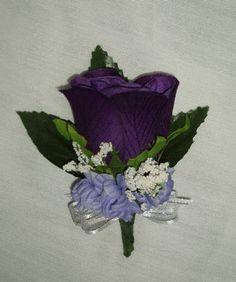 Purple Eggplant Rose Boutonniere Silk WEDDING Flowers Groom/Groomsmen. $3.20, via Etsy. (pinned for the boutonniere colors, not the silk flowers)
