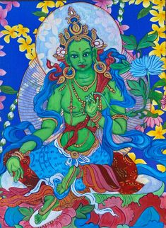 Aloha Green Tara Green Tara Hawaiian Style Thankga Art | Etsy Tara Goddess, Thangka Painting, Green Tara, Hindu Art, Buddhist Art, Hawaiian, Buddha, Carving, Artist