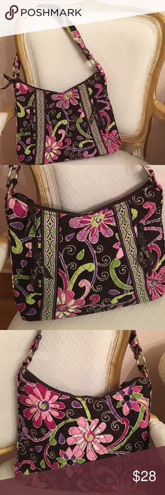 Vera Bradley Purple Punch purse Like new- used once or twice. Vera Bradley Purple Punch purse. 2 front zippered pouches along with inside pockets. Vera Bradley Bags Shoulder Bags
