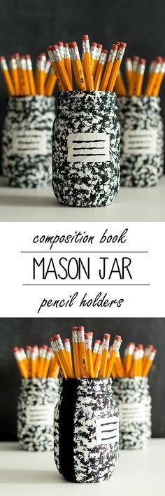Jar Ideas - Composition Book Pen Pencil Holder Desk Organizer - Teacher Gift Ideas for Back to School, Holiday, Year-End - Mason Jar Crafts at @masonjarcraft