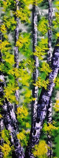 VERDE ESPERANZA...cartulina pintada óleo 20x50cm, cuadro original, Óleo sobre Cartulina, comprar cuadros
