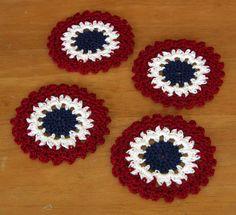 "Americana Concentric Circles Coasters in Red, White and Blue ~~~ #Handmade Set of 4 #Coasters or ""Trinket Doilies"" for any table setting in an AMERICANA or PATRIOTIC Color theme - Navy Blue inside White inside Red - Crocheted By @rssdesignsfiber - RSS Designs In Fiber - with DMC Cotton Crochet Threads.  These could also be used as Appliques or Patches on any Fabric -- Or string a Ribbon or Chain through a loop to make a Choker or Necklace."