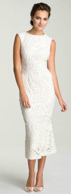 Lace Tea-length Wedding Dress for Older Brides Over 40, 50, 60, 70. Elegant Second Wedding Dress Ideas.