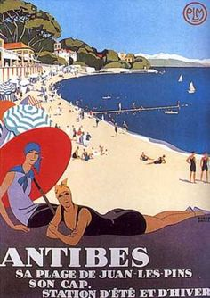 Vintage travel poster for Antibes and its fabulous beach. The Red Parasol comes to the French Riviera! What will be its next step? =) #beach #riviera #vintage #poster #essenzadiriviera.com