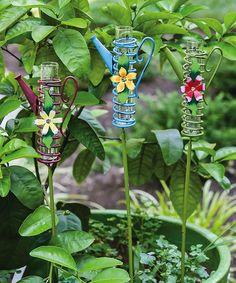 Another great find on #zulily! Spring Petals Rain Gauge Garden Stake Set #zulilyfinds
