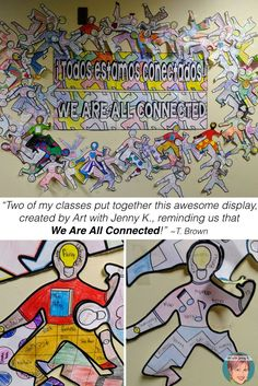 """Two of my classes put together this awesome display, created by Art with Jenny K., reminding us that We Are All Connected! All About Me Activities, First Day Of School Activities, Classroom Displays, Classroom Ideas, Library Displays, Back To School Crafts, We Are All Connected, Starting School, Arts Integration"