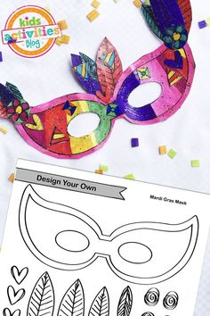 Design your own Mardi Gras mask with this free printable from Kids Activities Blog.