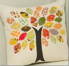 Fabric Scrap Tree Pillow. perfect for sept. not quite pumpkin season yet...