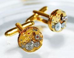 GIRARD PERREGAUX Steampunk Cufflinks - with Authentic Girard Perregaux watch movements! $130.00