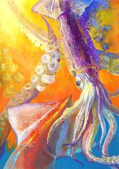 烏賊のモチーフ構成です。しかっり観察した良い作品です! Colorful Art, Art Painting, Animal Art, Animal Wallpaper, Illustration, Painting, Graphic Design, Art, Composition Design