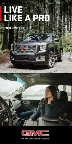 Some believe it's better to live to a higher standard. We couldn't agree more. Here's to living Like A Pro  The 2018 Yukon SUV makes a powerful impression with its confident lines and aerodynamic proportions. Bold exterior styling ques, a distinctive Denali-specific grille, GMC signature lighting, and refined details give the Yukon an unmistakable presence on the road, or in your driveway.