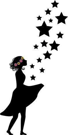 Blumenmädchen, Sterntaler, Mädchen, Silhouette, Blumen