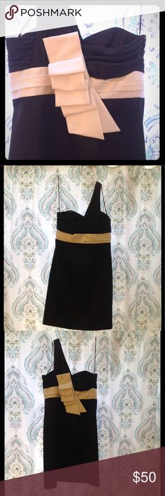 """Satin black and ivory cocktail / formal dress Perfect condition, worn once! Satin and barely off white one shoulder dress with statement bow in the back. Approx knee length (I'm 5'4""""). Size zipper. ABS Allen Schwartz Dresses One Shoulder"""
