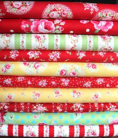 Lecien Flower Sugar fabric bundle 1 FQ each of 10 by WhimsyQuilts, $25.00