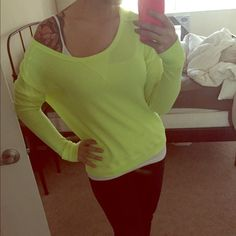 Free People Neon Pullover Sweater Free People neon yellow pullover sweater. Size S, can be worn normally or off the shoulder! Small stain near the bottom hem but hardly noticeable. Free People Sweaters Crew & Scoop Necks