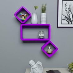 Home Decor MDF Cube and Rectangle Wall Shelf -Set of 3 Purple Wooden Wall Shelves, Wall Shelf Decor, Floating Wall Shelves, Wall Shelves Design, Unique Wall Decor, Cube Shelves, Wall Design, Wall Wardrobe Design, Etagere Cube