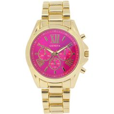 Womens Pink Dial Gold-Tone Bracelet Watch ($30) ❤ liked on Polyvore featuring jewelry, watches, clasp bracelet, wide bracelet, gold tone watches, dial watches and pink-face watches