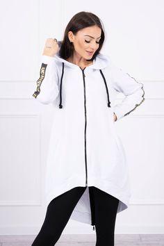 Dlhá dámska mikina biela so zipsom Hooded Jacket, Athletic, Jackets, Fashion, Hooded Bomber Jacket, Down Jackets, Jacket With Hoodie, Moda, Athlete