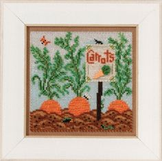 Mill Hill Carrot Garden- Beaded Cross Stitch Kit. Kit Includes: Beads, ceramic button, perforated paper, floss, needles, chart and instructions. Finished size: