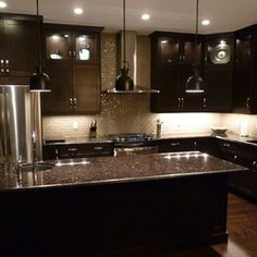 Kitchen Cabinets; love the darkness of it!
