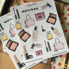What's In My Bag Stickers Makeup and handbags by MyNewestAddiction