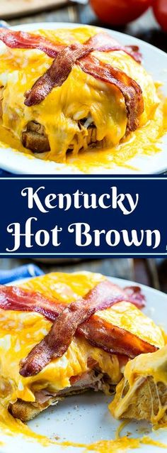 The most delicious Kentucky Hot Brown recipe ever. This open-faced sandwich is completely covered in cheese and topped with bacon. Kentucky Hot Brown, Kentucky Derby, Great Recipes, Favorite Recipes, Brown Recipe, Good Food, Yummy Food, Tacos, Wrap Sandwiches