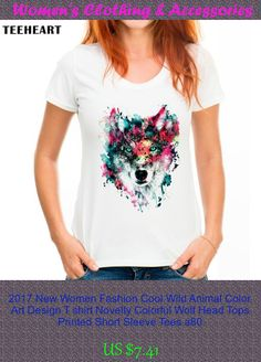 2017 New Women Fashion Cool Wild Animal Color Art Design T shirt Novelty Colorful Wolf Head Tops Printed Short Sleeve Tees a80