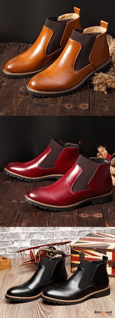US$54.9+Free shipping. Men's Shoes, Elastic Band Ankle Boots,  Comfortable, Genuine Leather, Fashion Trendy, U won't want to miss it! Color: Black, Light Brown, Wine Red. Shop now~