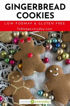 These Gingerbread cookies are low FODMAP and perfect for the holidays. Bake until soft for a chewy cookie, or a bit longer for a crisp result. #glutenfree #vegetarian #christmascookies #christmasrecipes #lowfodmapdiet#fodmap #lowfodmap #fodmapeveryday #ibs #ibsdiet