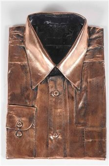 Two works: Artforum together with a copper metal shirt-form sculpture By Lynda Benglis ,1976
