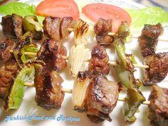 1 lb boneless beef or lamb 1 tsp salt 1-2 cloves of garlic, minced 2 tbsp olive oil ½ tsp cumin ½ tsp paprika 1tbsp lemon juice Green/yellow...