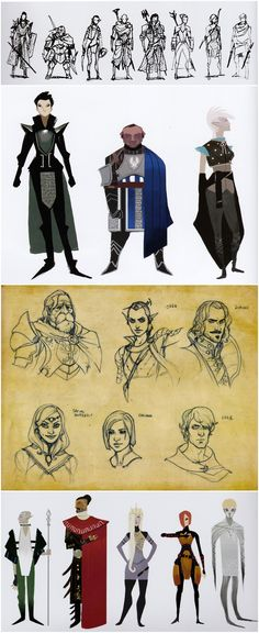 Early concept sketches for the companions in The Art of Dragon Age: Inquisition