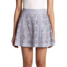 Parker Filomena Laser-Cut Leather Skirt ($99) ❤ liked on Polyvore