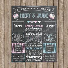 Custom Chalkboard Printable Twin Birthday by SavvyDeetsDesigns, $20.00