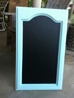 A Repurposed Cabinet Door Has Been Given A Fresh New Look. A Shabby Chic Chalkboard. Cabinet Door Crafts, Old Cabinet Doors, Old Cabinets, Old Doors, Repurposed Items, Repurposed Furniture, Furniture Makeover, Diy Furniture, Recycling