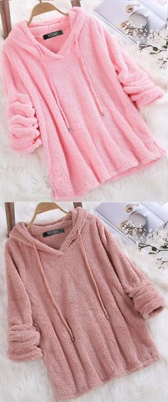 $25.99 USD Sale! Free Shipping! Shop Now! Fleece Hooded Solid Color Autumn Winter Long Sleeve Sweatshirts Simple Outfits, Boho Outfits, Pretty Outfits, Beautiful Outfits, Girl Outfits, Cute Outfits, Holiday Outfits, Spring Outfits, Winter Outfits