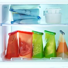 Reusable silicone food bag for storage, freezing, reheating, and cooking.