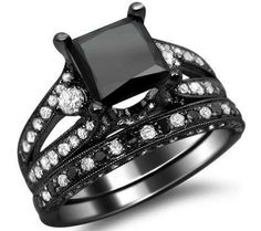 4.0ct Black Princess Cut Diamond Engagement Ring Bridal Set 18k Black Gold.