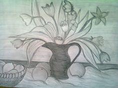 çiçekler (karakalem çalışması)